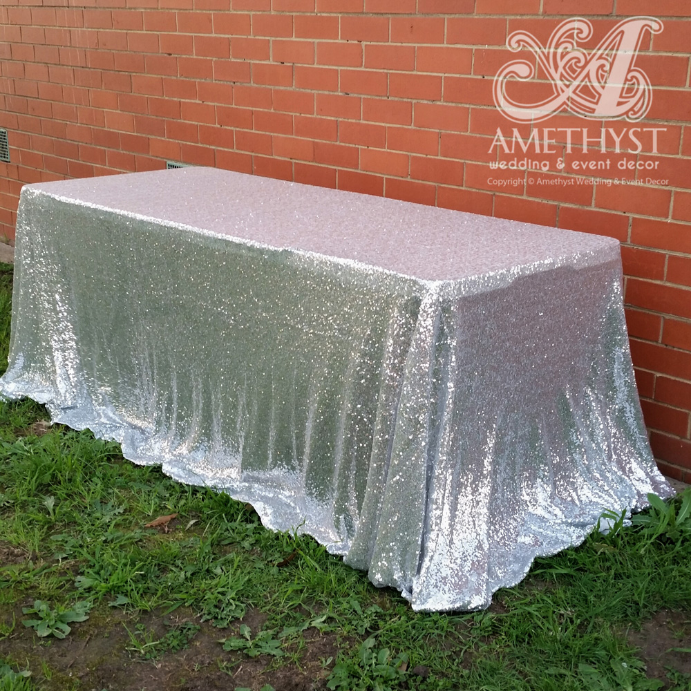chic sofas narrow chrome sofa table silver sequin trestle tablecloth - hire $40 fits 6ft, $50 ...