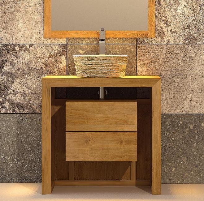 meuble de salle de bain hoedic l80 en teck