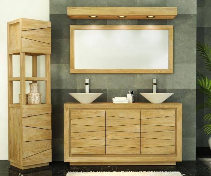 meuble de salle de bain teck dumet l140
