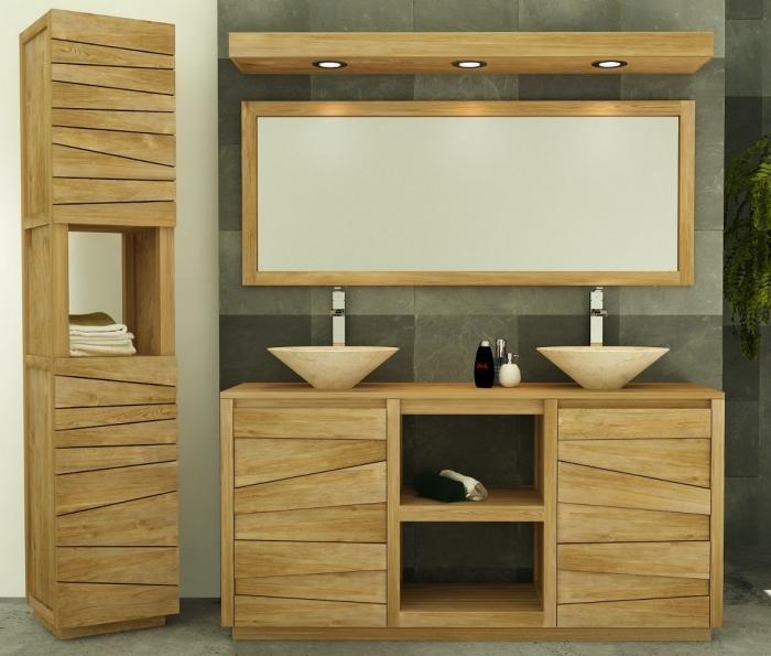 meuble salle de bain belair l160 en teck
