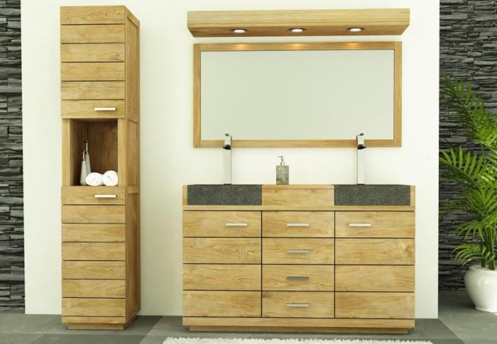 meuble salle de bain belle ile 140 en teck vasque noire