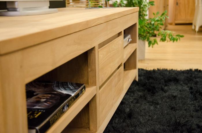 meuble tv en teck naturel tiroirs