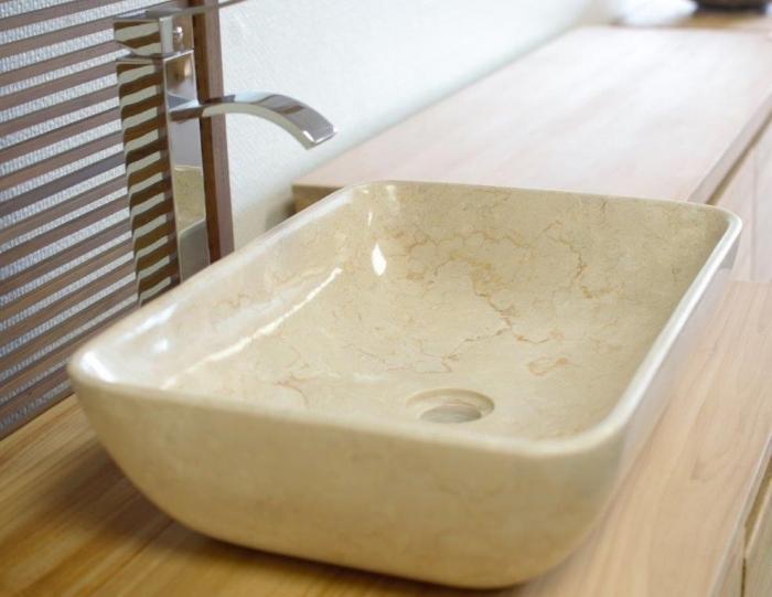 Vasque En Marbre Beige A Poser Sur Meuble De Salle De Bain
