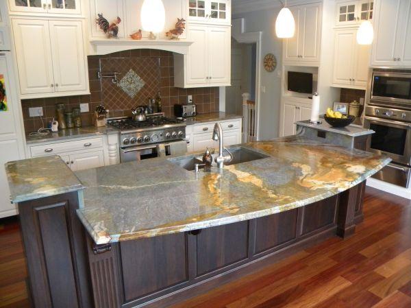 Quartz Kitchen Island with Granite Countertops