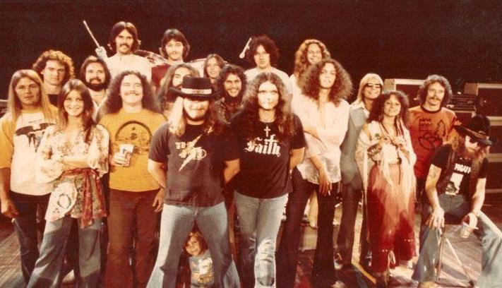 Lynyrd Skynyrd band and crew. Ron Eckerman - far right, orange shirt.