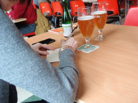 Jotting down some notes while enjoying an Oude Gueuze on our 3 Fonteinen stop