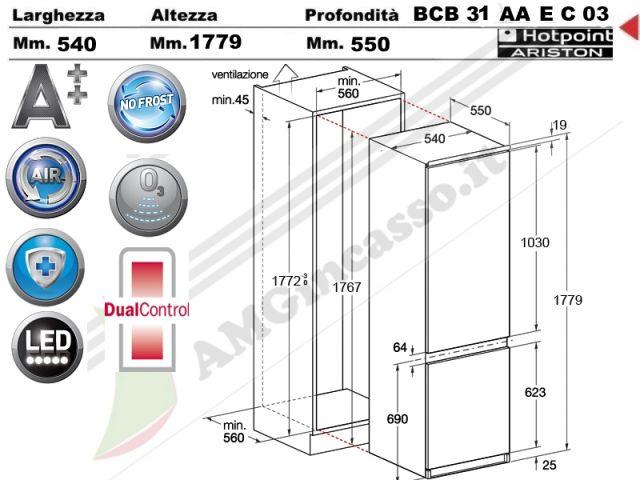 BCB31AAECO3  Frigocongelatore incasso cucina Hotpoint Ariston BCB 31 AA E C O3 1 motore litri