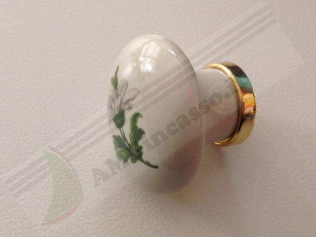 66920  Pomolo Maniglia Pomello 66920 margherita porcellana ceramica ovale base ottone lucido