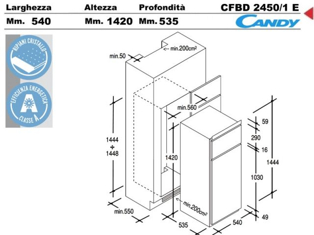CFBD24501E  Frigorifero incasso cucina Candy CFBD24501E 1 motore litri 208 classe A