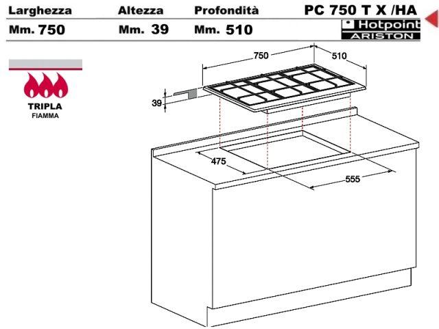 PC750TXHA  Piano Cottura 75 incasso cucina Hotpoint