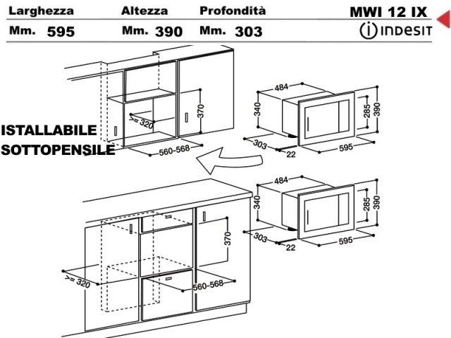 MWI12IX  Forno incasso cucina Indesit Microonde