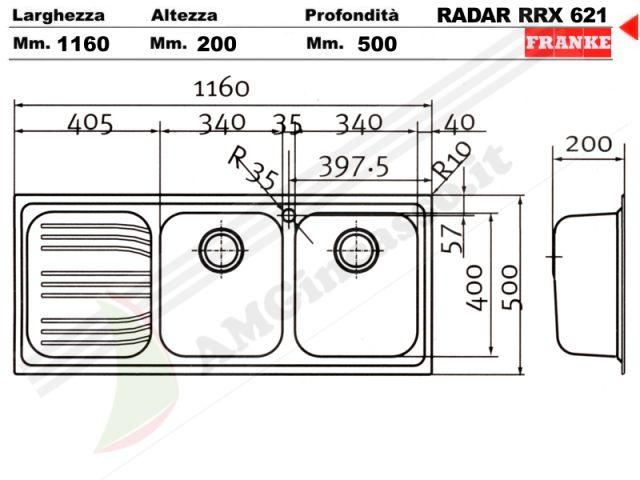 85862962  Lavello Franke Radar RRX621 incasso cucina