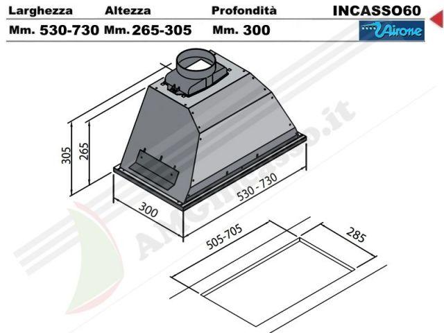 INCASSO 60 INOX  Cappa Airone Gruppo Incasso Cm60 AC IX