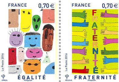 Triptyque timbres vignette - Un triptyque de timbres républicains conçu par des collégiens