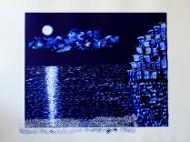 Luisa Tinazzi - Blue Liguria: Notturno - stampa monotipo su matrice di plexiglass inchiostrata - mm. 400 x 500 matrice / cm. 50 x 70 foglio