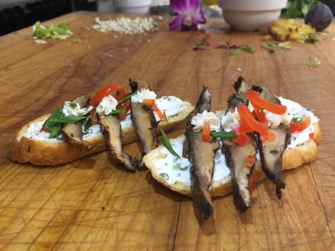 Balsamic Marinated Portobello Mushrooms and Herbed Goat Cheese Crostini