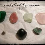 Malachite, Rhodochrosite, Jade, Rose Quartz, Ruby, Garnet, Emerald