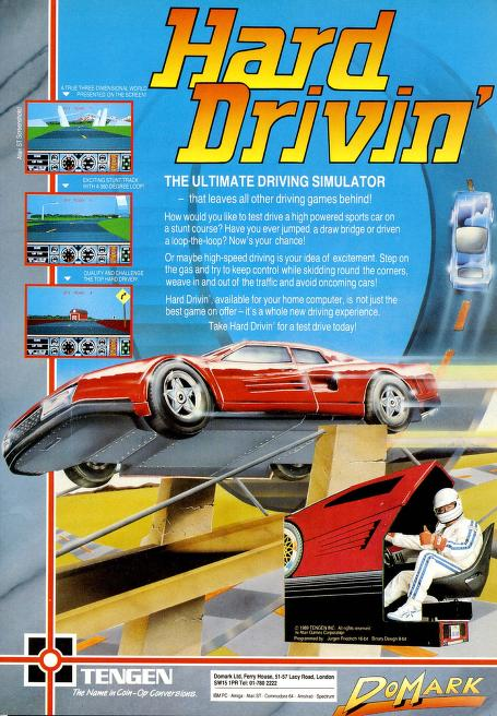 Hard Drivin' video game poster ad