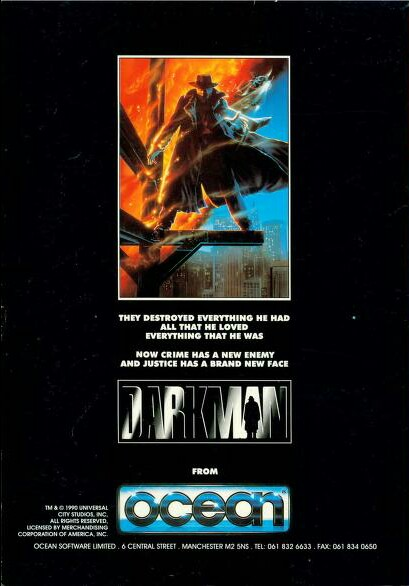 Advertisement poster for the Darkman video game