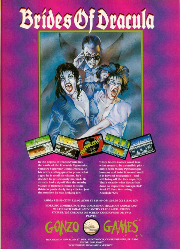 Brides of Dracula computer game advert