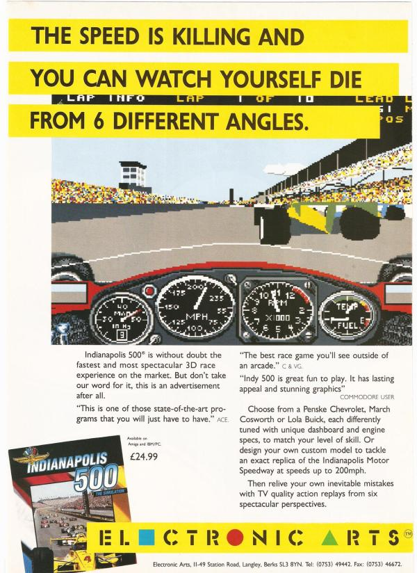 Advertisement poster for the Amiga Indy 500 game