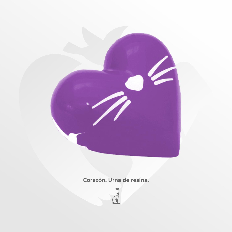Urna de resina Corazón para Gato