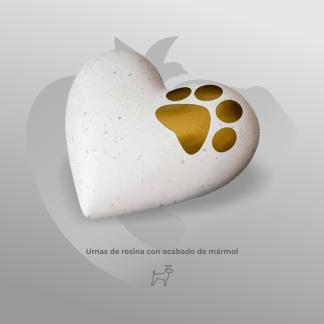 Urna Corazón Blanco de resina con acabado tipo mármol