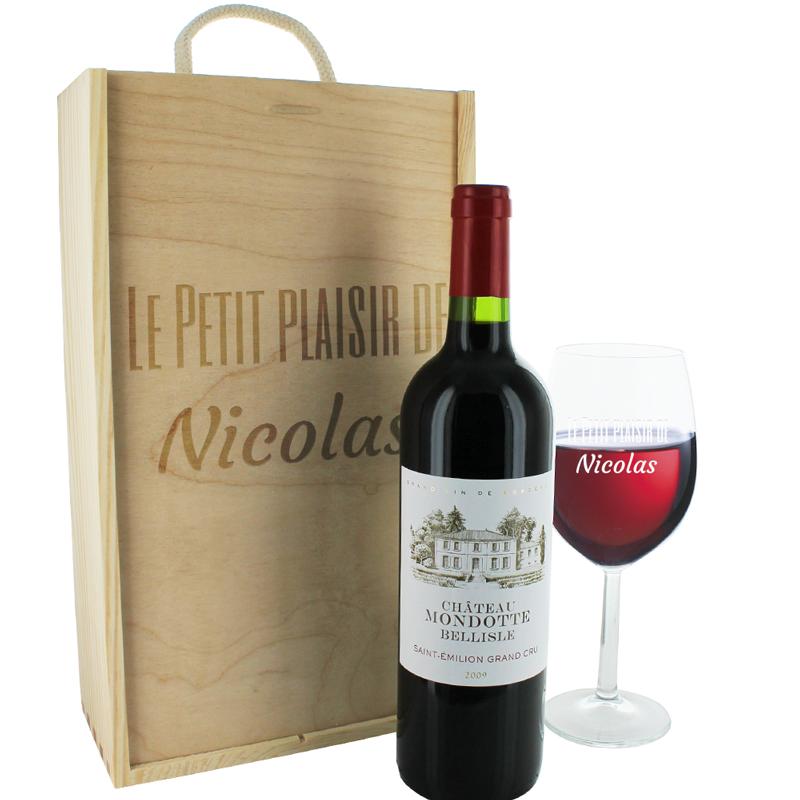 Coffret Bouteille De Vin Et Verre Gravs Texte Une Ide