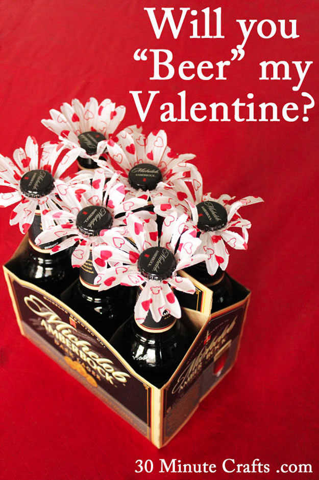 Homemade Valentine's Day Gifts: Beer Flowers