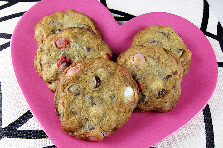 Supreme Chocolate Chip Cookies: a crisp cookie filled with chocolate chips and M&Ms.