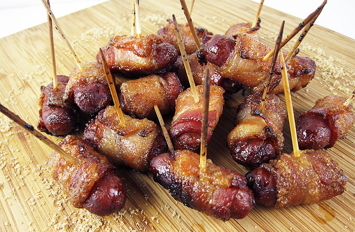 Candied Bacon Wrapped Lil Smokies