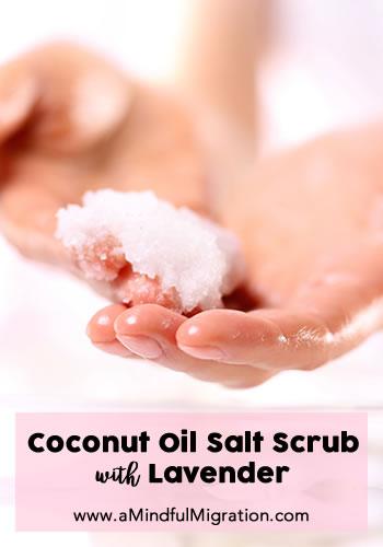 DIY Coconut Oil Salt Scrub with Lavender