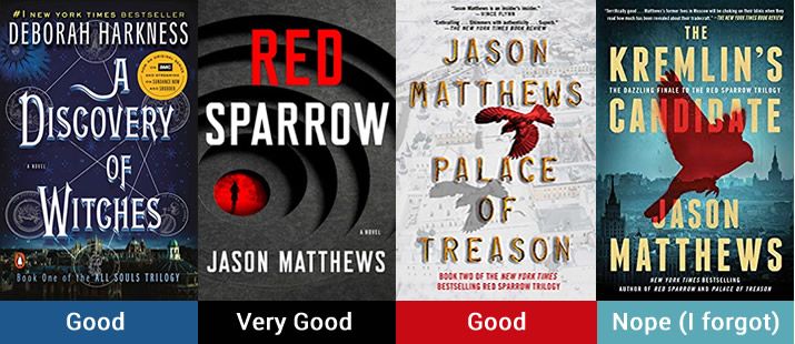 books I'm reading: Discovery of Witches and The Red Sparrow Trilogy