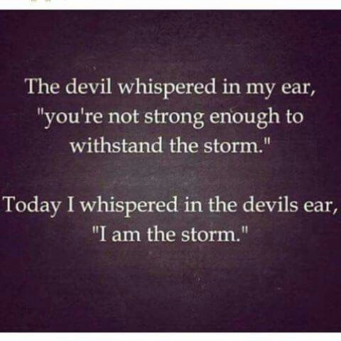 """The devil whispered in my ear, """"you're not strong enough to withstand the storm."""" Today I whispered in the devil's ear, """"I am the storm."""""""