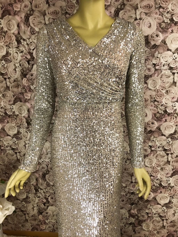 Pailletten Abendkleid lang Gold/Multicolor