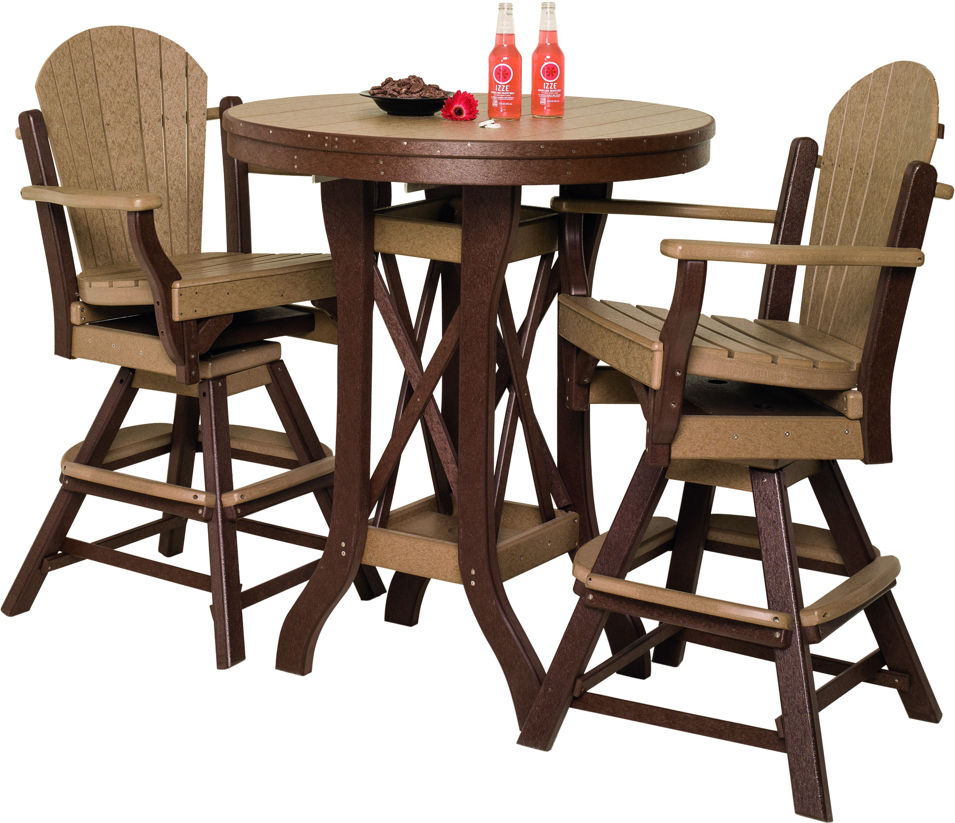 table with swivel chairs pads for glider rocking amish poly pub set