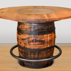 Whiskey Barrel Pub Table And Chairs Fishing Chair With Arms Ruff Sawn Jack Daniels