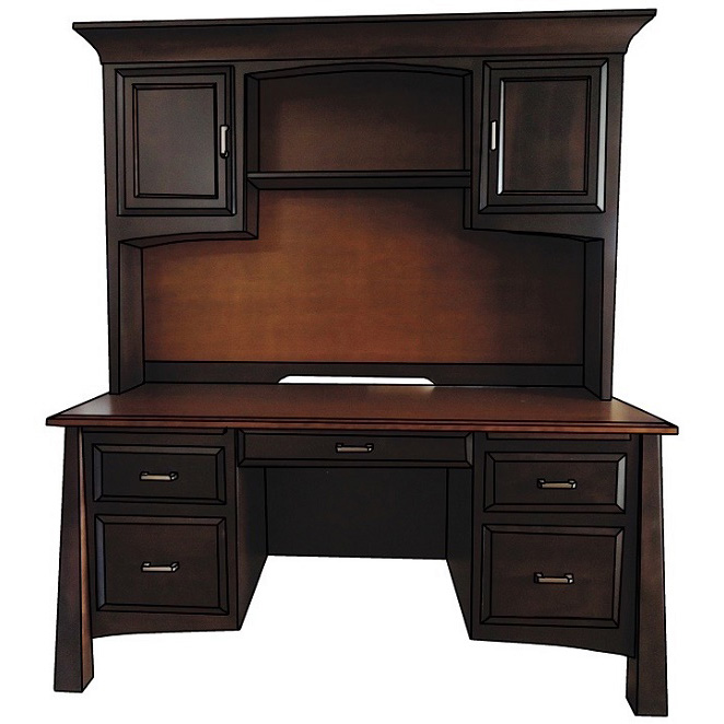 Englehart Double Pedestal Desk With Hutch Amish Crafted