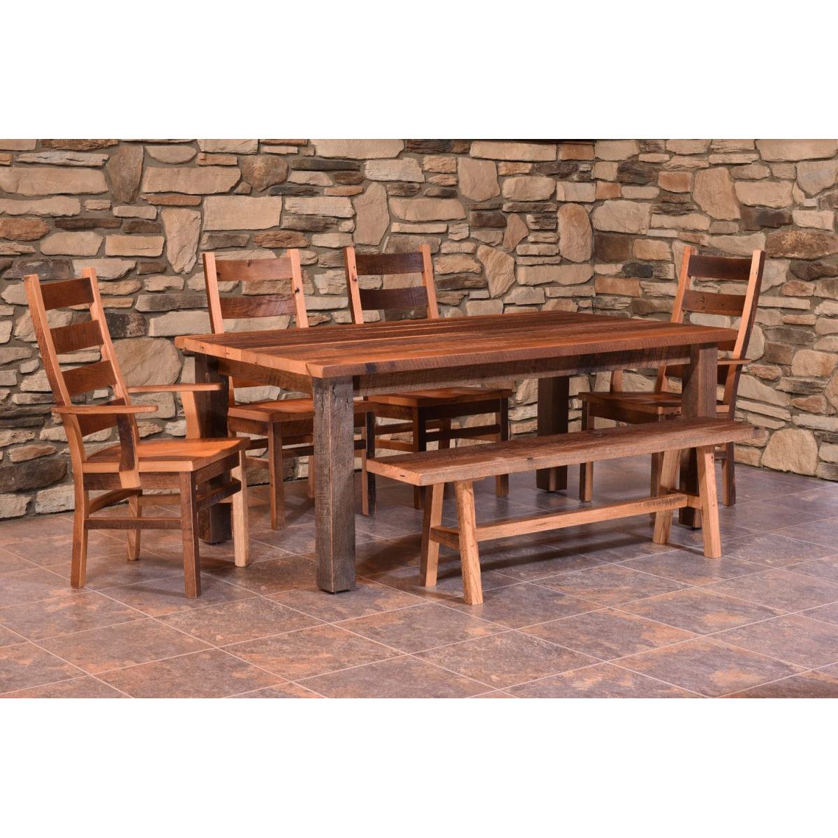 barnwood dining room chairs aluminum stacking patio almanzo table square leg amish crafted