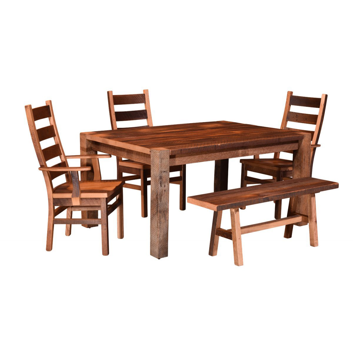 barnwood dining room chairs school desk timber ridge table amish crafted furniture
