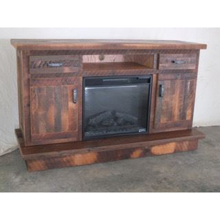 Barnwood Fireplace Entertainment Center Amish Crafted