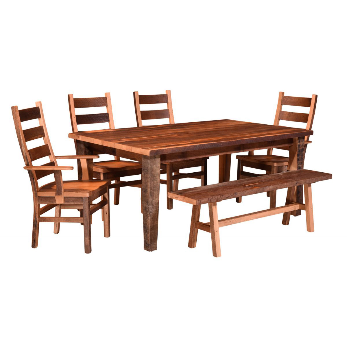 barnwood dining room chairs swivel with arms almanzo table tapered leg amish crafted