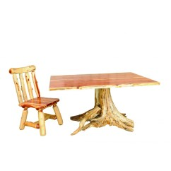 Bentwood Dining Chair Cover Rentals Baton Rouge Red Cedar Live Edge Table With Stump Base - Amish Crafted Furniture