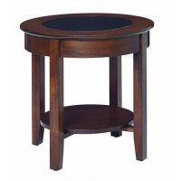 Aaron's Glass Top Round End Table - Amish Crafted Furniture