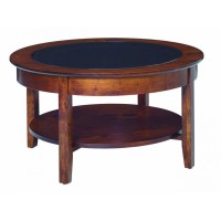 Aaron's Glass Top Round Coffee Table - Amish Crafted Furniture