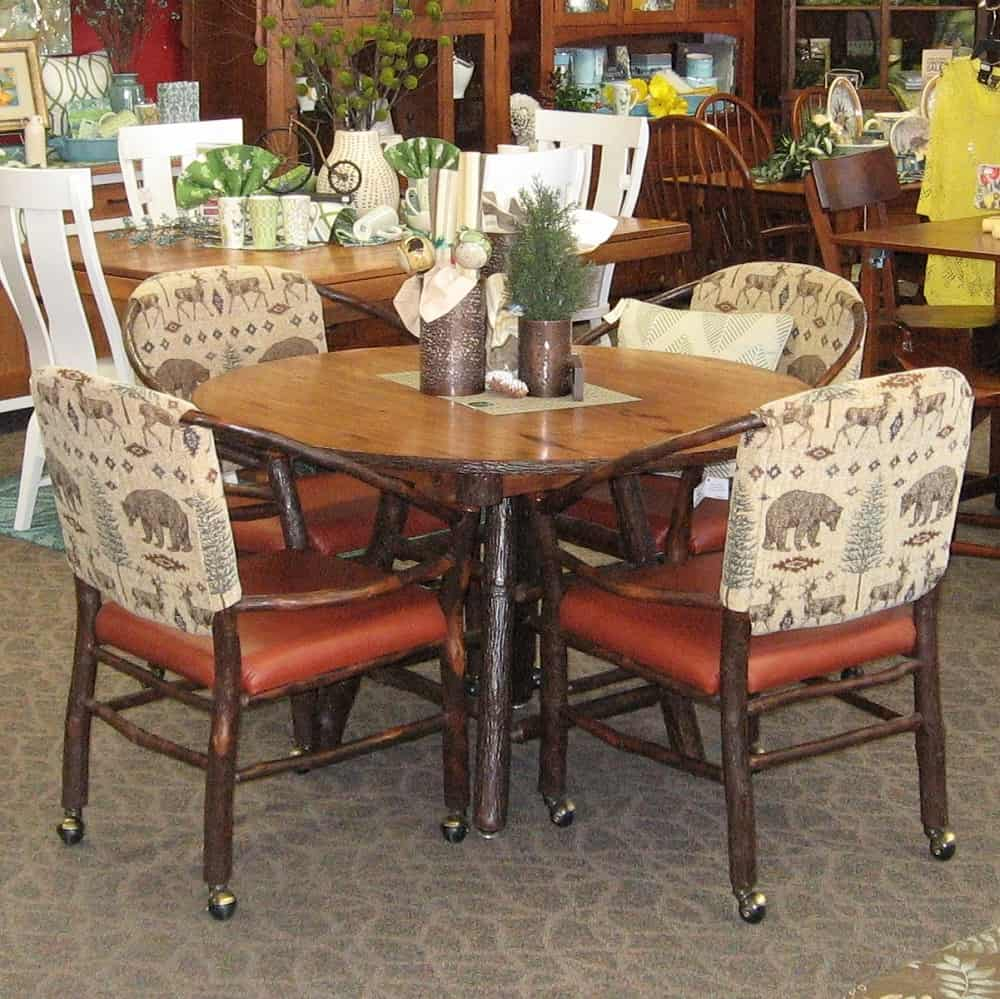 48 Round Rustic Hickory Dining Table shown in Rustic