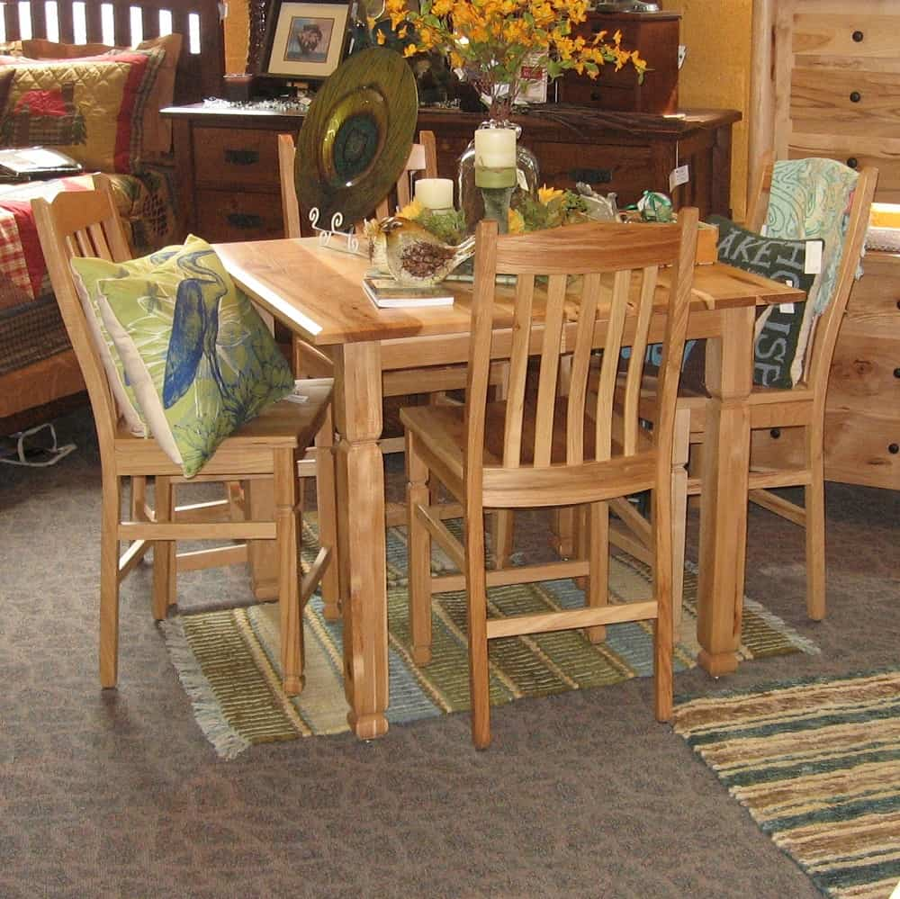 42 Square Adirondack Pub Table Shown in Rustic Hickory