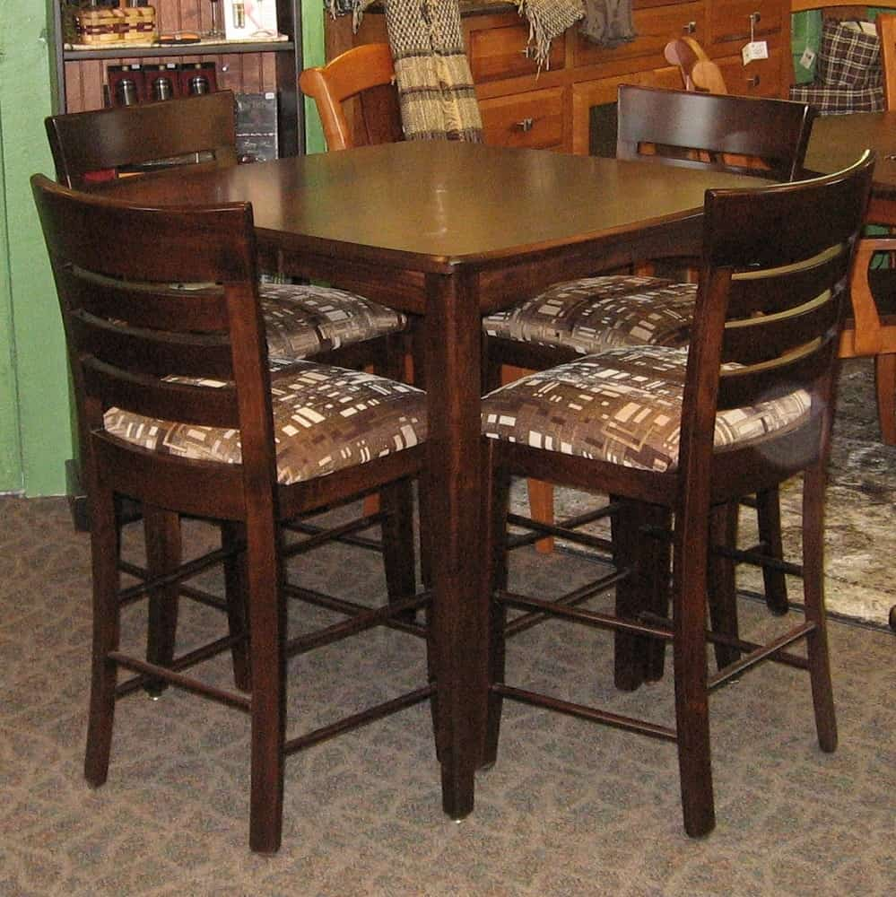 pub style table and chair set oversized lawn 36 square vienna 4 belfast chairs shown in brown maple with a rich tobacco finish