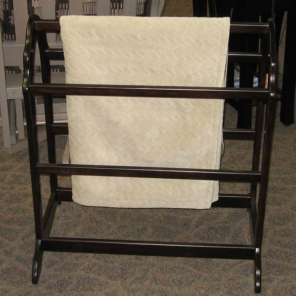 Open End Quilt Rack Shown In Brown Maple With An Onyx