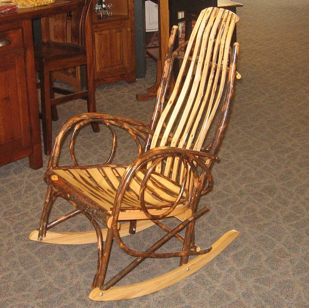 wood kitchen table sets c bent hickory rocker with slats - amish oak